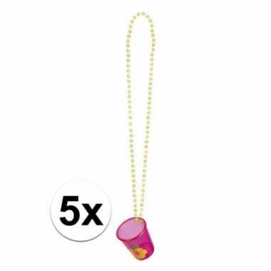 Feest kettingen met shotglas roze hawaii 5x