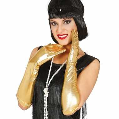 Feest lange handschoenen goud glimmend