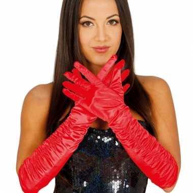 Feest lange handschoenen rood satijn