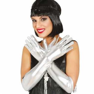 Feest lange handschoenen zilver glimmend