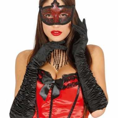 Feest lange handschoenen zwart satijn