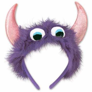 Feest monster diadeem paars/roze