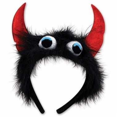 Feest monster diadeem zwart/rood