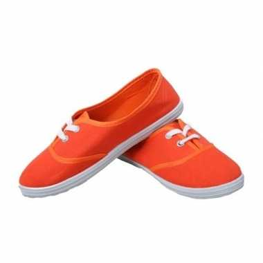Feest oranje sneakers/schoenen voor dames accessoires