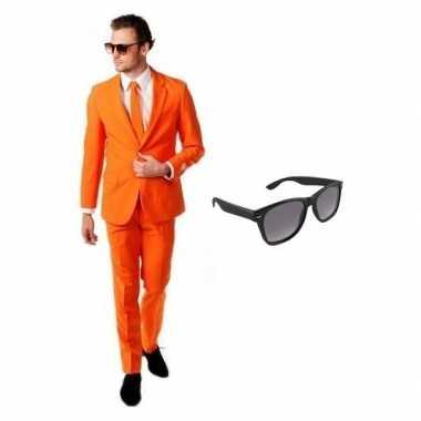Feest oranje tuxedo/business suit 48 (m) voor heren met gratis zonneb