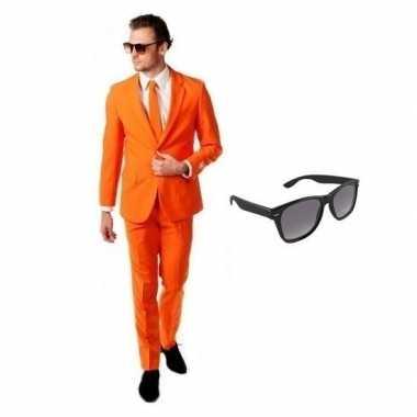 Feest oranje tuxedo/business suit 54 (2xl) voor heren met gratis zonn