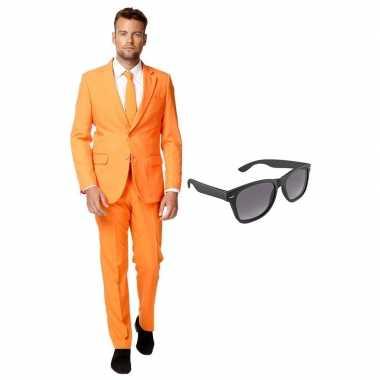 Feest oranje tuxedo/business suit 54 (xxl) voor heren met gratis zonn