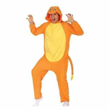 Feest oranje vuurdraak outfit voor volwassenen