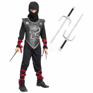 Feest outfit ninja met dolkjes maat s voor jongens/meisjes
