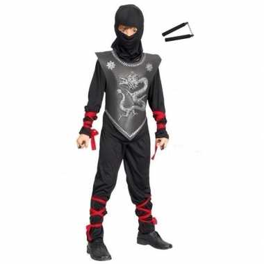 Feest outfit ninja met nunchaku vechtstokken maat m voor jongens/meis