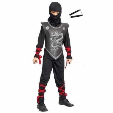 Feest outfit ninja met nunchaku vechtstokken maat s voor jongens/meis