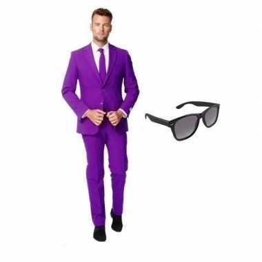 Feest paars tuxedo/business suit 50 (l) voor heren met gratis zonnebr
