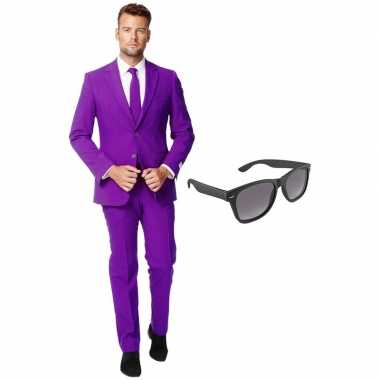 Feest paarse tuxedo/business suit 54 (xxl) voor heren met gratis zonn
