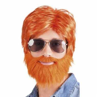 Feest pruik oranje met baard