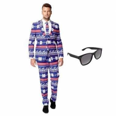 Feest rendier print tuxedo/business suit 48 (m) voor heren met gratis