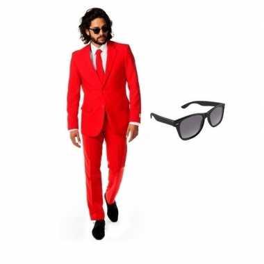 Feest rood tuxedo/business suit 50 (l) voor heren met gratis zonnebri