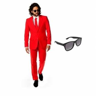 Feest rood tuxedo/business suit 54 (2xl) voor heren met gratis zonneb