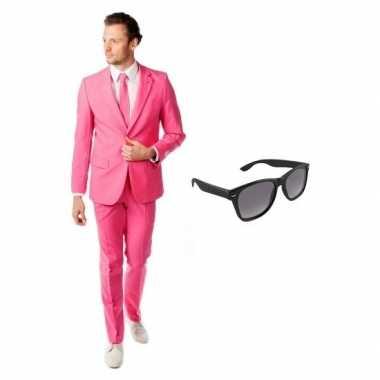 Feest roze tuxedo/business suit 54 (2xl) voor heren met gratis zonneb