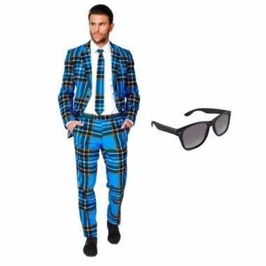 Feest schotse print tuxedo/business suit 50 (l) voor heren met gratis