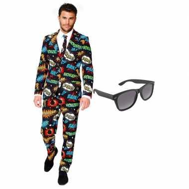 Feest stripfiguur tuxedo/business suit 56 (xxxl) voor heren met grati