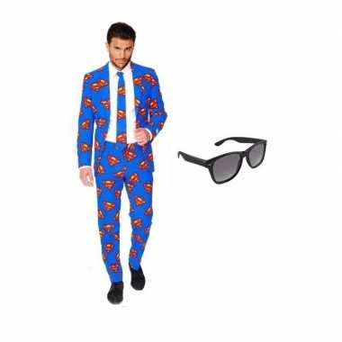 Feest superman print tuxedo/business suit 58 (4xl) voor heren met gra