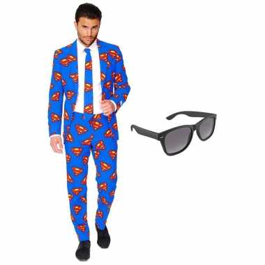 Feest superman tuxedo/business suit 56 (xxxl) voor heren met gratis z