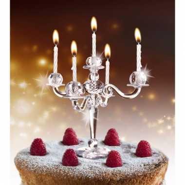 Feest taarten kandelaar met kaarsjes