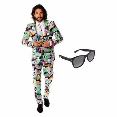 Feest televisie print tuxedo/business suit 54 (2xl) voor heren met gr
