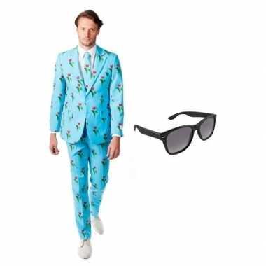 Feest tulpen print tuxedo/business suit 52 (xl) voor heren met gratis