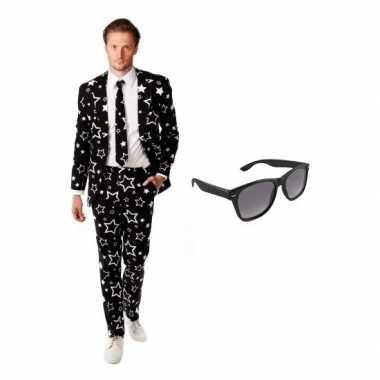 Feest zwart tuxedo/business suit 48 (m) voor heren met gratis zonnebr