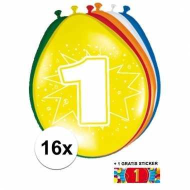 Feestartikelen 1 jaar ballonnen 16x + sticker