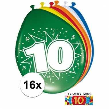 Feestartikelen 10 jaar ballonnen 16x + sticker