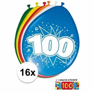 Feestartikelen 100 jaar ballonnen 16x + sticker