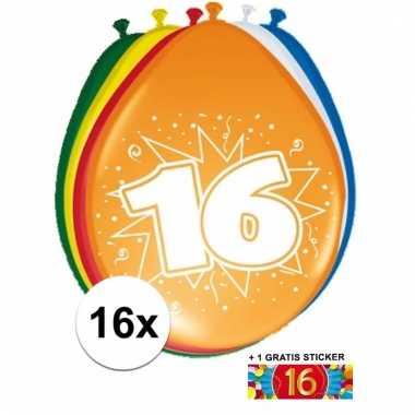 Feestartikelen 16 jaar ballonnen 16x + sticker