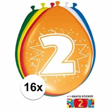 Feestartikelen 2 jaar ballonnen 16x + sticker