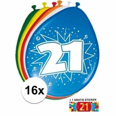 Feestartikelen 21 jaar ballonnen 16x + sticker