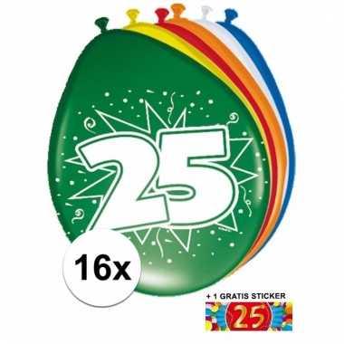 Feestartikelen 25 jaar ballonnen 16x + sticker