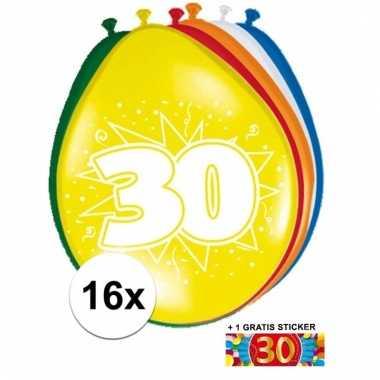 Feestartikelen 30 jaar ballonnen 16x + sticker