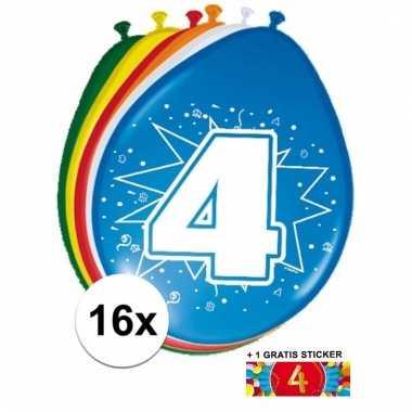 Feestartikelen 4 jaar ballonnen 16x + sticker