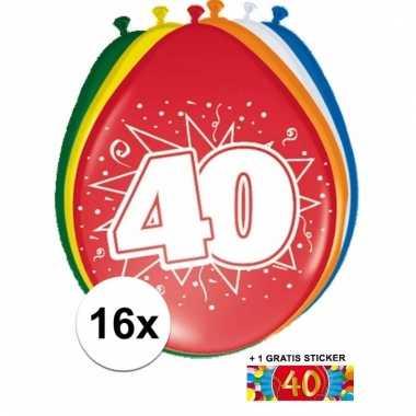 Feestartikelen 40 jaar ballonnen 16x + sticker