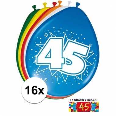 Feestartikelen 45 jaar ballonnen 16x sticker