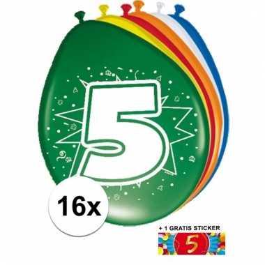 Feestartikelen 5 jaar ballonnen 16x + sticker