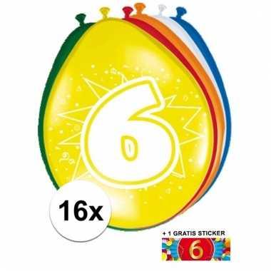 Feestartikelen 6 jaar ballonnen 16x + sticker
