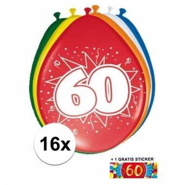 Feestartikelen 60 jaar ballonnen 16x sticker