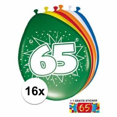Feestartikelen 65 jaar ballonnen 16x + sticker