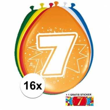 Feestartikelen 7 jaar ballonnen 16x + sticker