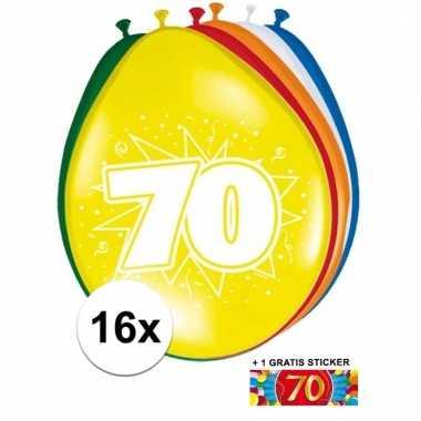 Feestartikelen 70 jaar ballonnen 16x + sticker