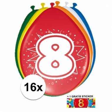 Feestartikelen 8 jaar ballonnen 16x + sticker