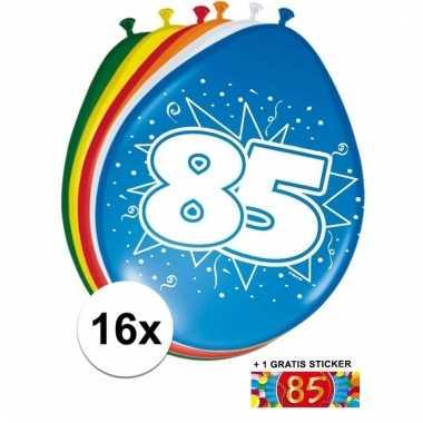 Feestartikelen 85 jaar ballonnen 16x sticker