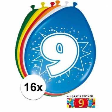 Feestartikelen 9 jaar ballonnen 16x + sticker